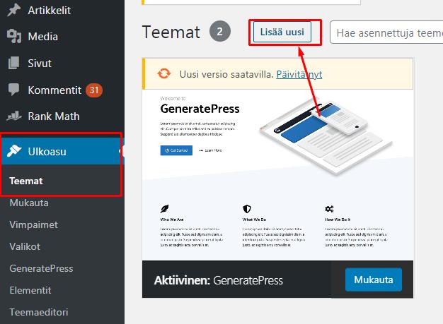 Wordpress teeman asentaminen